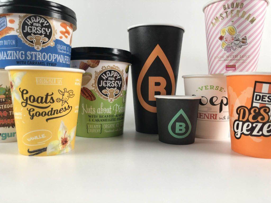 Bedrukte koffie bekers papieren cups met logo